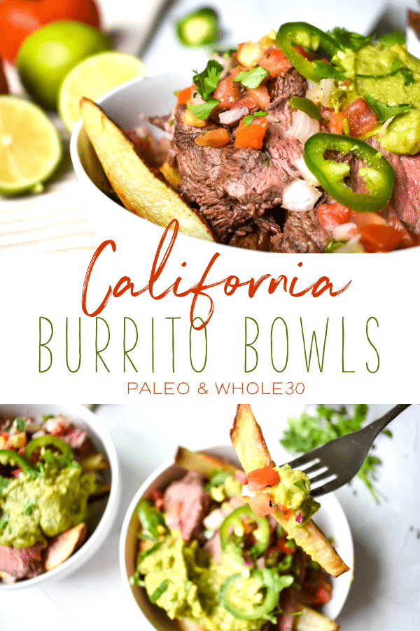 These California burrito bowls are the perfect dish to satisfy your Mexican food craving. The ingredients are all paleo and Whole30 compliant! It's the perfect option for a healthy family dinner! #mexicanfood #whole30 #paleo