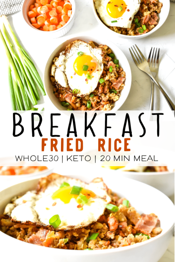 This quick and easy breakfast fried rice is a healthy recipe using bacon, eggs and cauliflower rice. This recipe is Paleo, Whole30 compliant, low-carb can be thrown together in less than 20 minutes! This simple recipe is sure to be a family favorite for breakfast, lunch or dinner! #paleorecipes #cauliflowerrice #whole30 #whole30breakfast