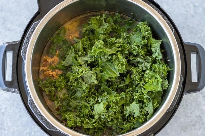 kale added to zuppa toscana