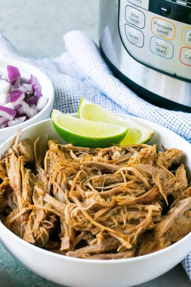 instant pot shredded beef with instant pot in background