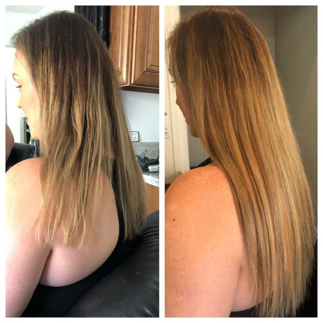 tape in extensions before and after