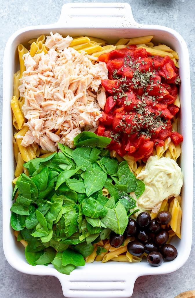 ingredients for pesto chicken casserole