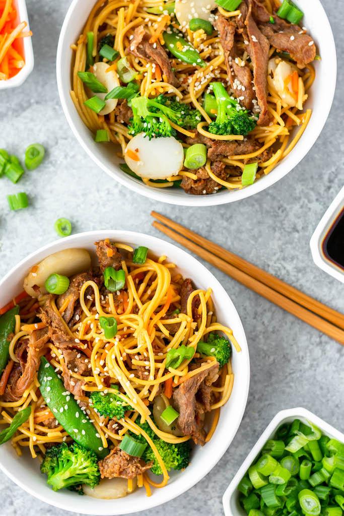 gluten-free beef chow mein bowls