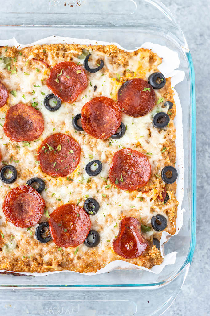prepared pizza casserole with pepperoni and olives
