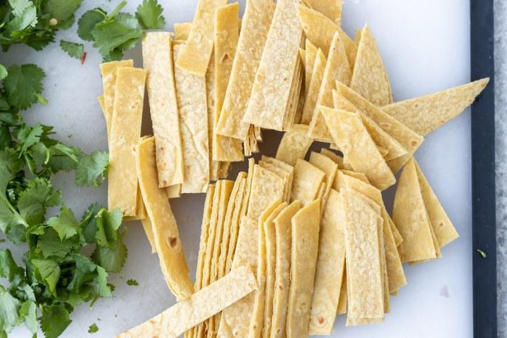 corn tortillas cut into strips