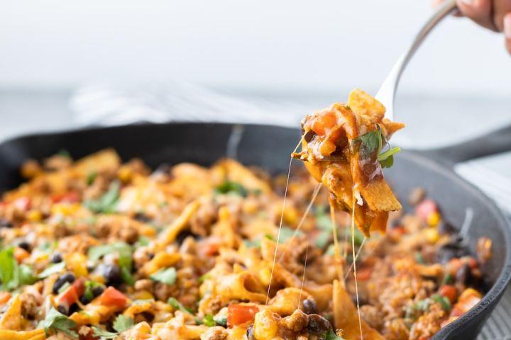 forkful of turkey enchilada skillet