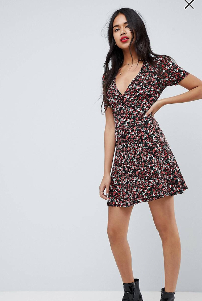 ASOS Mini Tea Dress with V Neck and Button Detail in Mono Floral Print