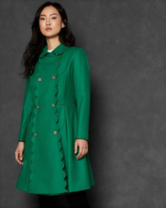 Scallop trim wool swing coat