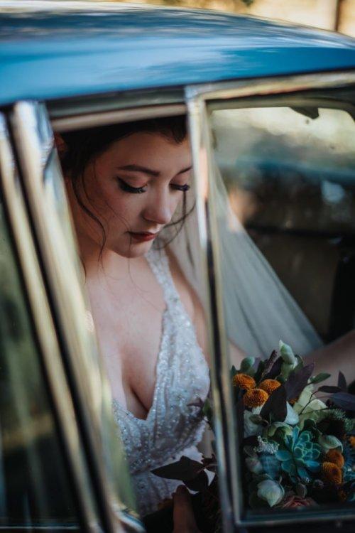 Bride in Car Wedding Photography