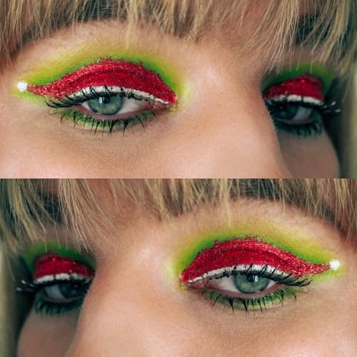 festive santa hat makeup