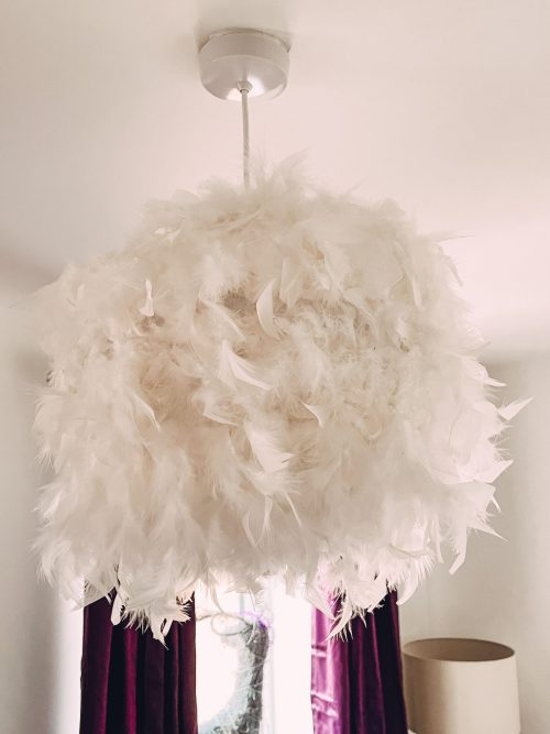 feather lampshade