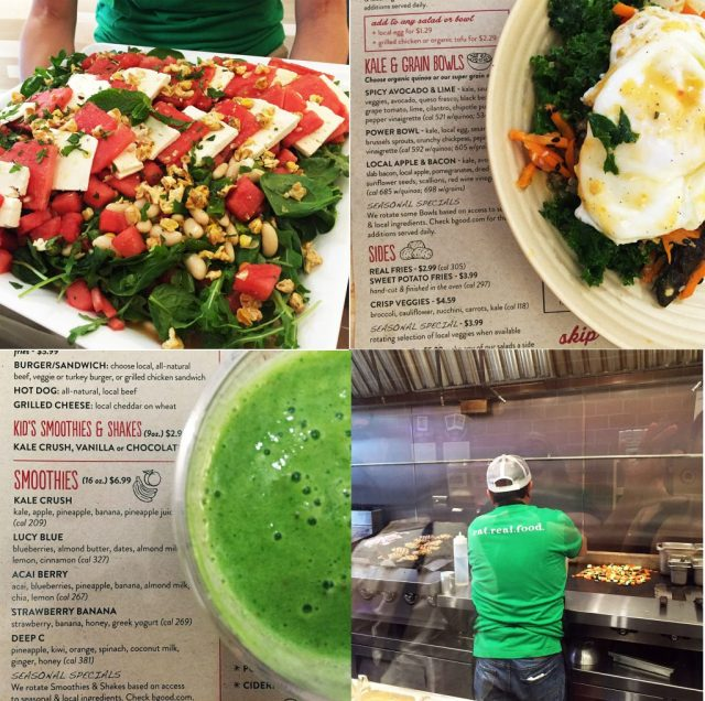 Clockwise: Power Bowl, B.good employee grilling chicken and searing veggies on the flat top, Kale Crush Smoothie, and Watermelon & Feta Salad.