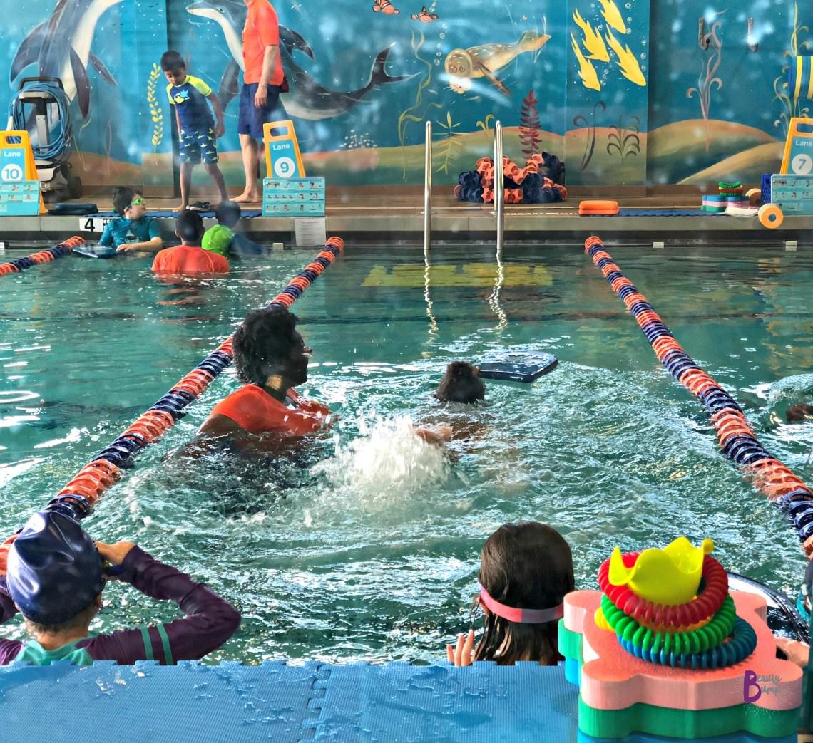 Learning to Swim at Goldfish Swim School Garden City