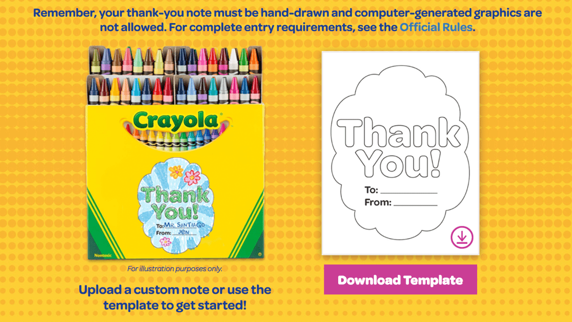 Crayola Thank a teacher campaign thank you note template