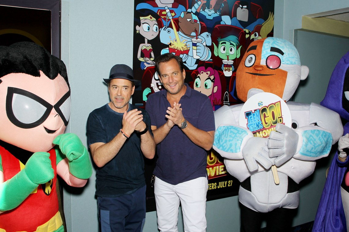 "East Hampton, NY - 7/7/18 - Warner Bros. Animation and Will Arnett Hosts the Hamptons Sneak Screening of ""Teen Titans Go! To the Movies"" -Pictured: Robert Downey Jr., Will Arnett with Teen Titans -Photo by: Marion Curtis/StarPix -Location: East Hampton Cinema"