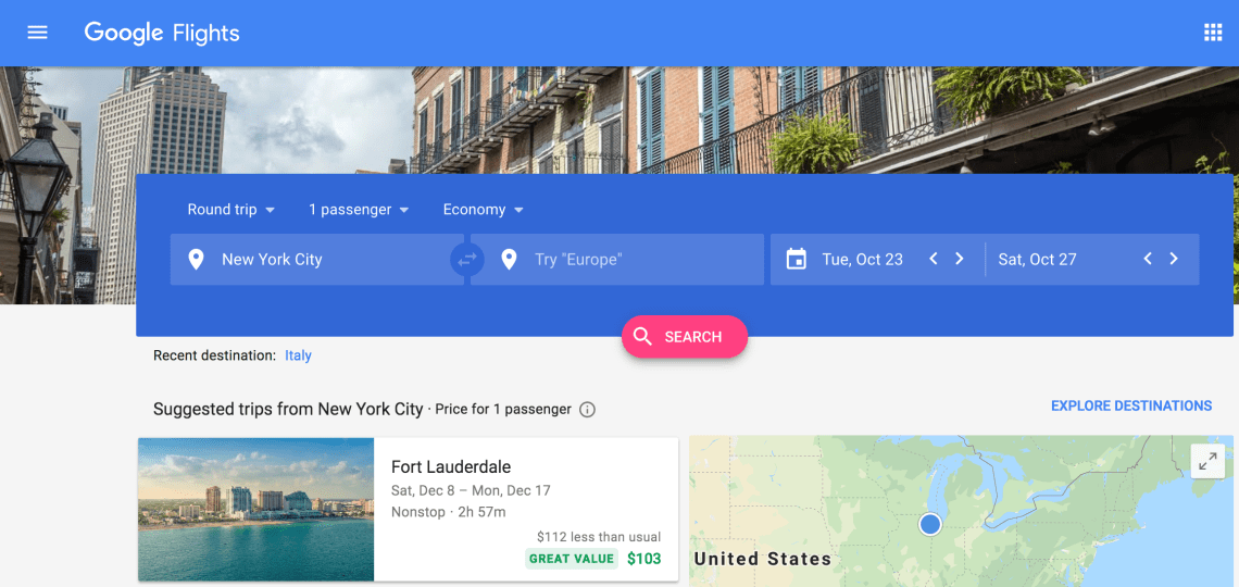 Google Flights to find the best travel deals