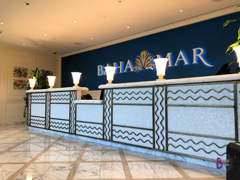 This is the airport waiting area for the free shuttle to Baha Mar properties