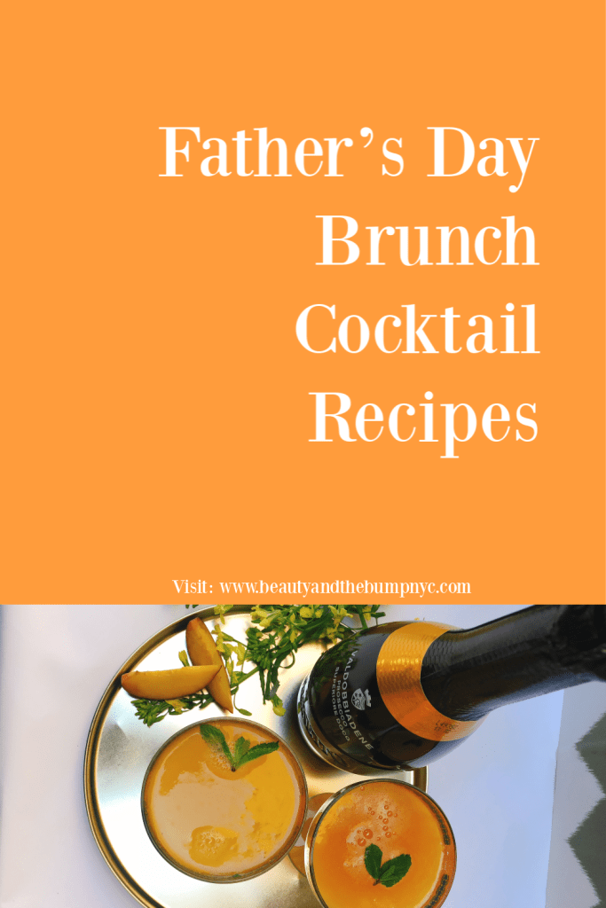 Whether you're preparing a meal at home or ordering in, I'm sharing two delicious and easy brunch cocktail recipes perfect for a Father's Day Brunch. Peach Prosecco w/Fresh Mint and ginger