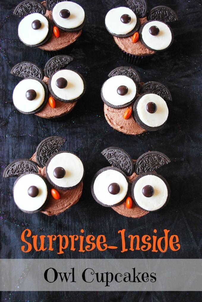 Peanut Butter Owl Halloween Cupcakes