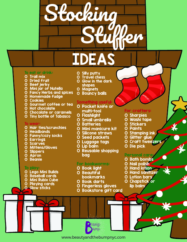 This free printable of stocking stuffer ideas provides lists of unique stocking stuffer ideas for any category imaginable.