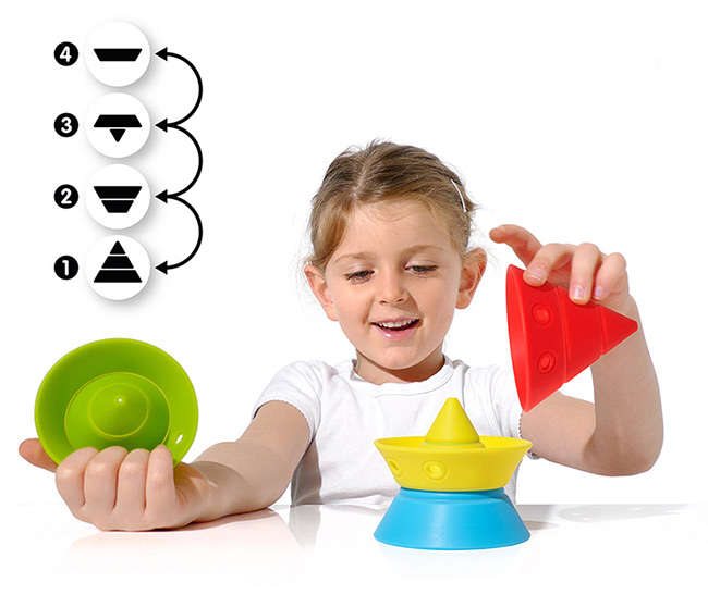 This versatile BPA-free, food-grade silicone construction toy is the perfect sensory toy for child 0+. Each cone transforms into four basic shapes which can be stacked and nested in many different configurations. Through play, Hix helps to train visual-spatial ability, hand-eye coordination, and fine motor skills. And unlike other building blocks, these won't hurt when you step on them.