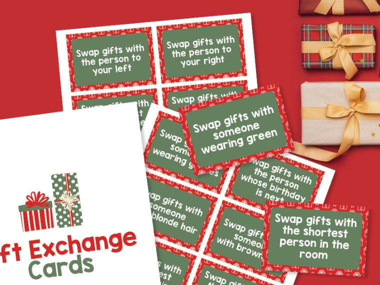 Whether at home or at the office, make Holiday Gifting Fun with Gift Exchange Printable Instruction Cards for Christmas Parties.
