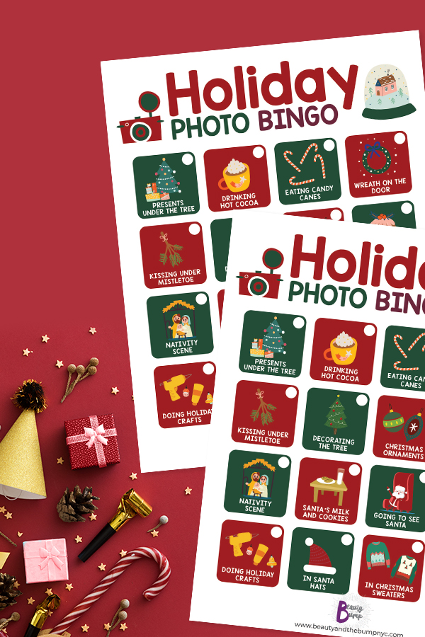 What you get is a cute stylized 16 box sheet of the things that make Christmas personally unique for you. The game is Holiday Photo BINGO.