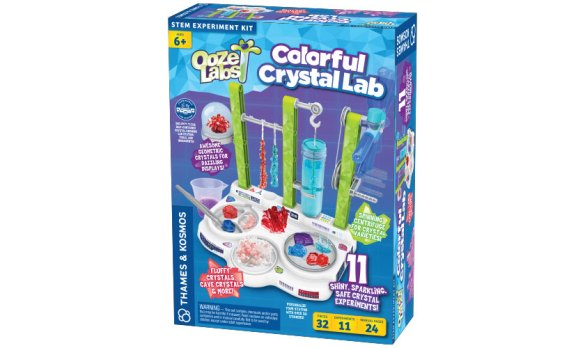 With the Ooze Labs: Colorful Crystal Lab, kids ages 6+ can explore the natural beauty and wonder of crystals by growing them.  The kit comes with everything needed to make crystals of various shapes and colors. The kit even allows kids to use everyday household  to make crystals, too. It's pretty cool. My daughter loves it.