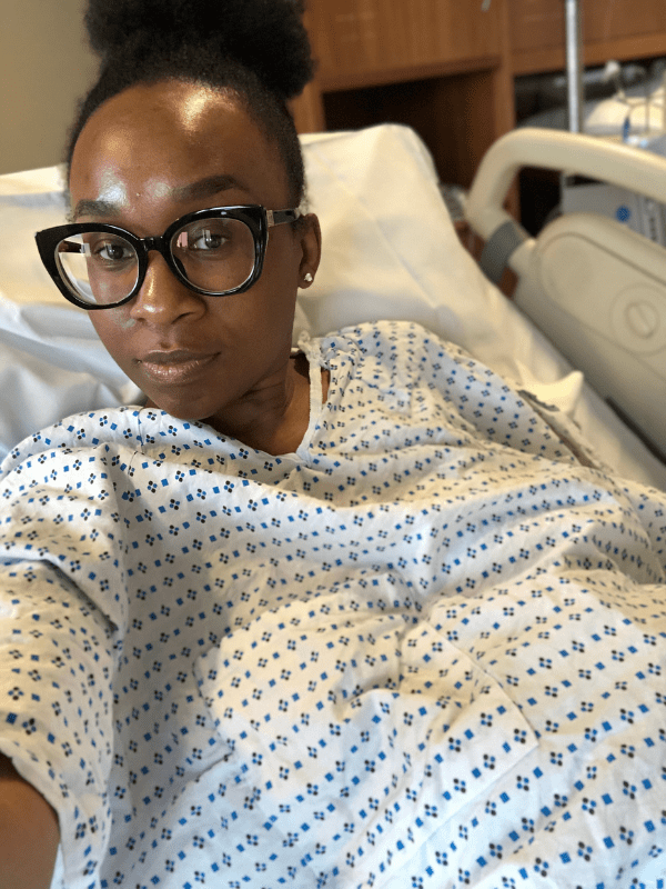 """During labor, I tore off my gown. I was NAKED, and quite frankly, I didn't care. I got so hot that I took off my very expensive glasses and flung them somewhere. The heat was so overwhelming that I didn't want anything on me. I kept repeating, """"I need a cold. I need a cold."""""""