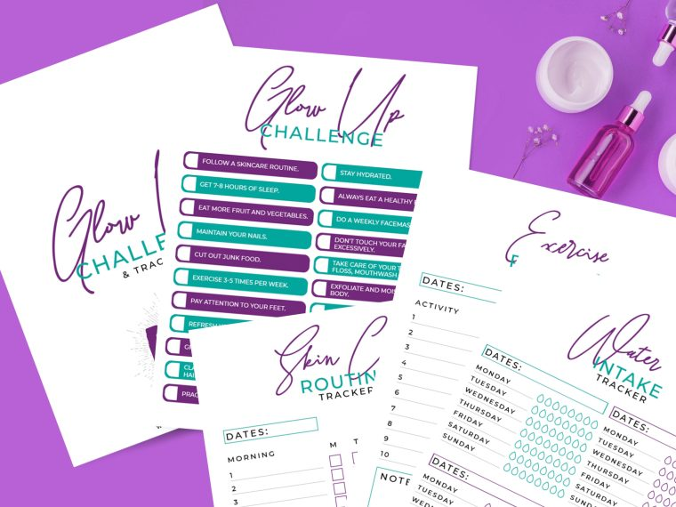 As moms it's often hard to take time for self-care. I've created this glow-up challenge tracker to make focusing on you easier.