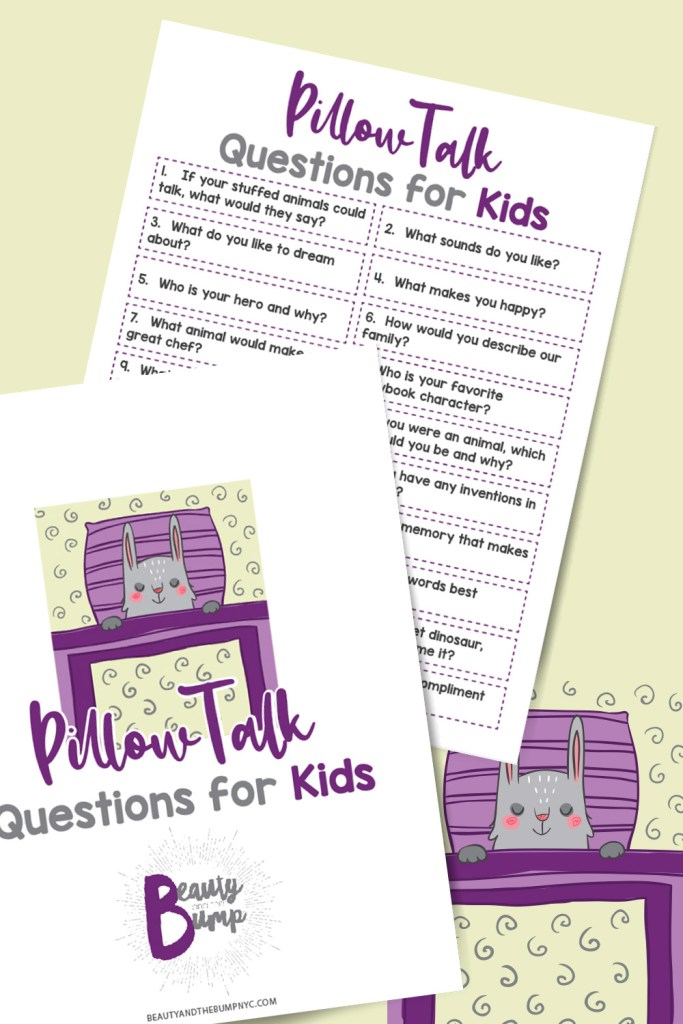 Pillow talk Bonding Activity Printable - Pillow Talk for Kids