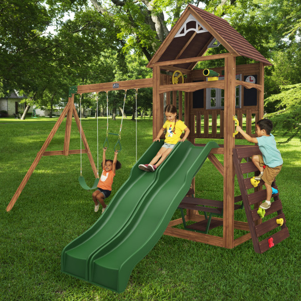 KidKraft Lindale This Cedar Summit by KidKraft Lindale Swing Set is ideal for kids ages 3-10. It has everything to keep kids busy outdoors. There's a mini rock climbing wall, two slides, swings, and more.