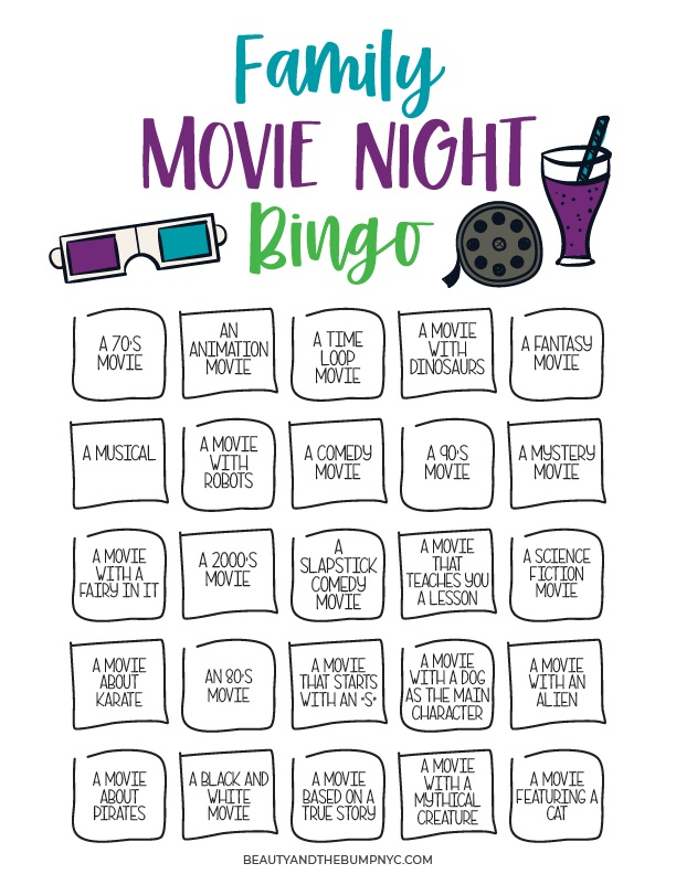 With the Family Movie Night Bingo + Popcorn Box & Tix Printable, you'll have access to a bingo sheet consisting of different movie ideas, such as fantasy movies, movies with dinosaurs, and a lot more.
