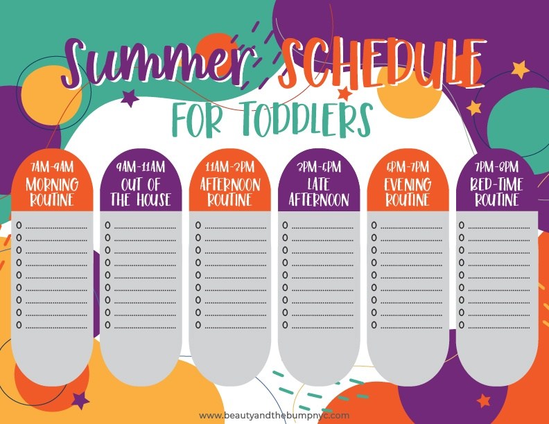 Use the printable to create the perfect summer schedule for your toddlers. You can add items to the list for each time slot, depending on what you'd like to do at those specific times.