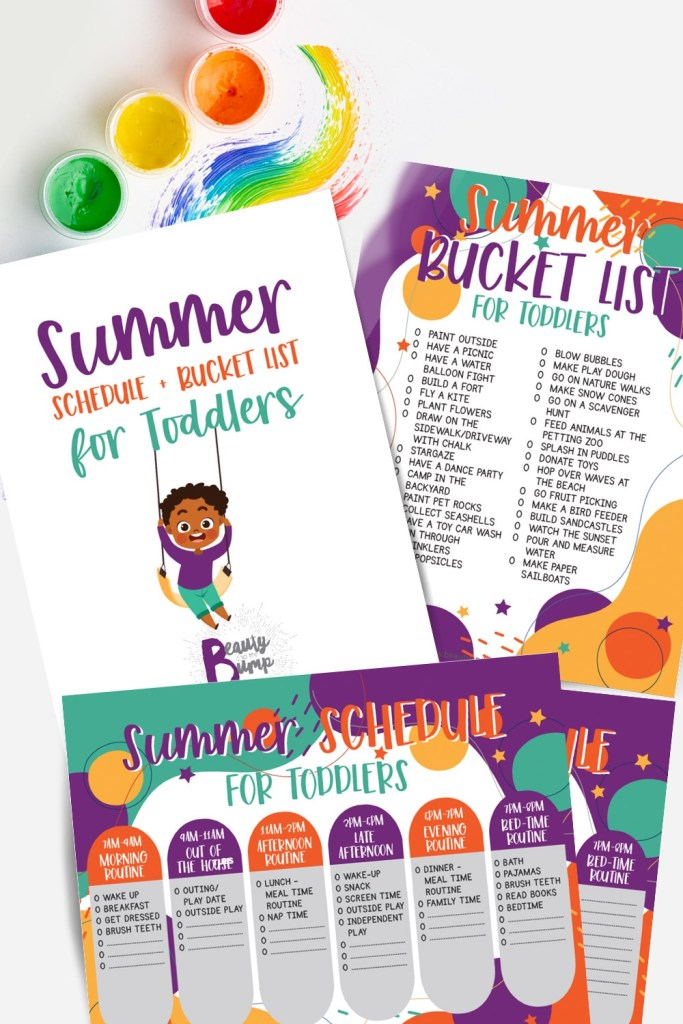 The printable allows you to follow an example schedule, set a schedule of your own based on what works best for you, your partner, and the children, and stay entertained with plenty of fun ideas.