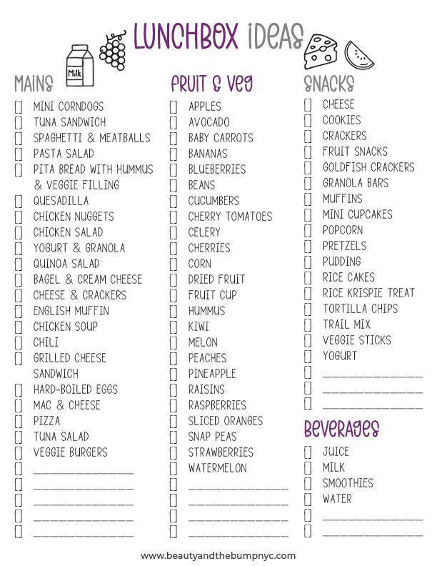 Kids Lunch ideas weekly school lunch planner food checklist printable