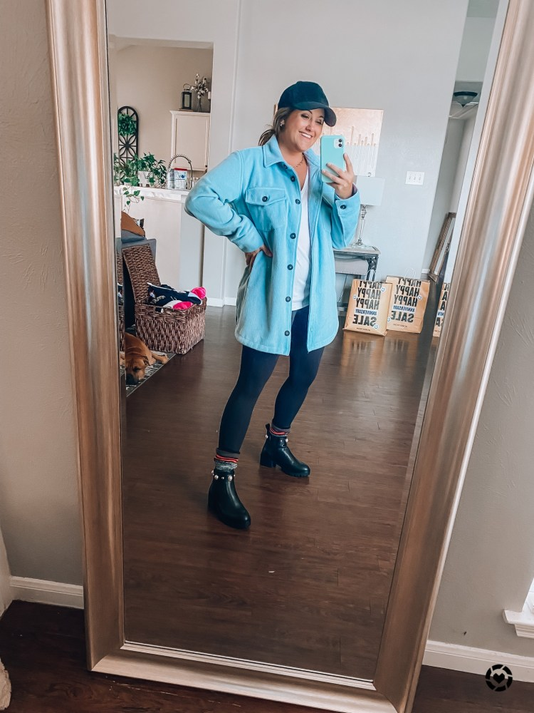 NSale 2021 zella leggings and blue shacket outfit