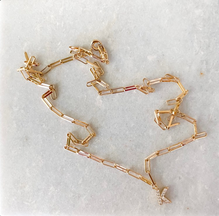 NSale 2021 gold paperclip necklace with letter pendant