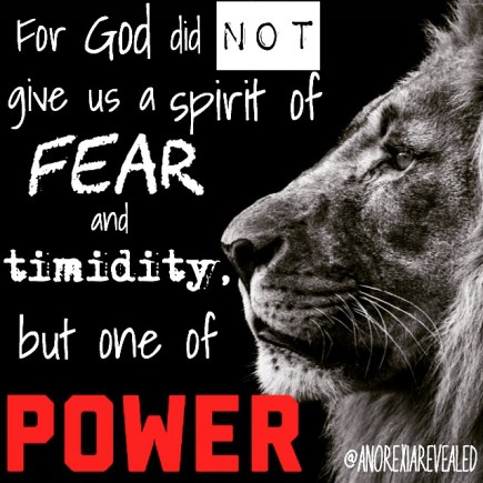 For God did not give us a spirit of fear and timidity, but one of power. - BeautyBeyondBones #edrecovery #recovery #faith #catholic #christianity #blog