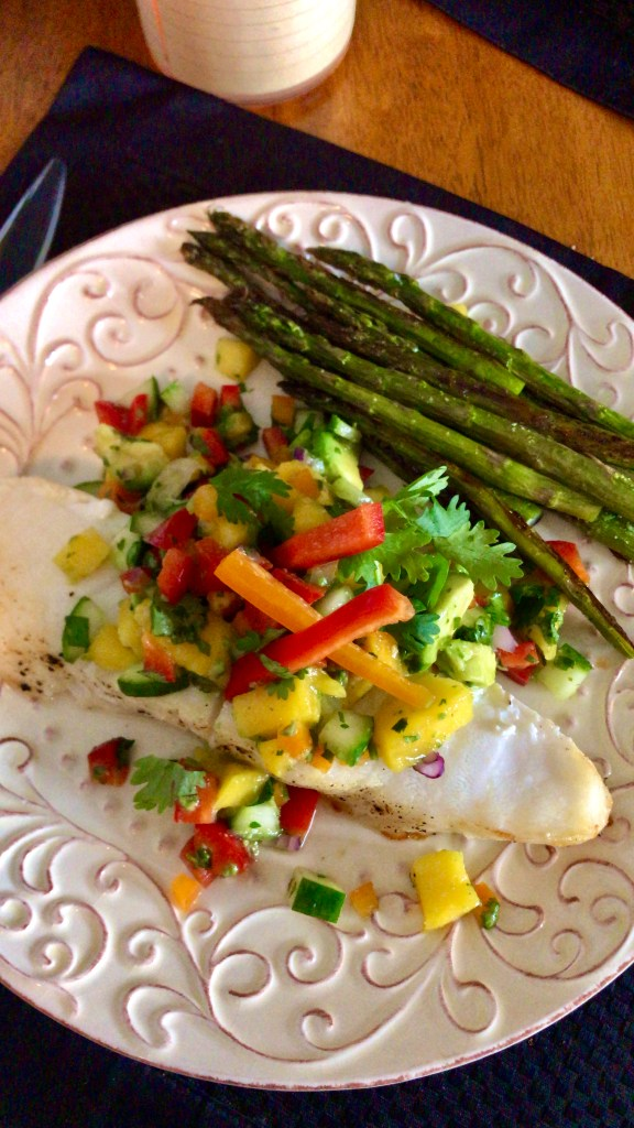 Chilean Sea Bass with Mango Salsa! By BeautyBeyondBones #glutenfree #paleo #food #dinner #edrecovery #yum