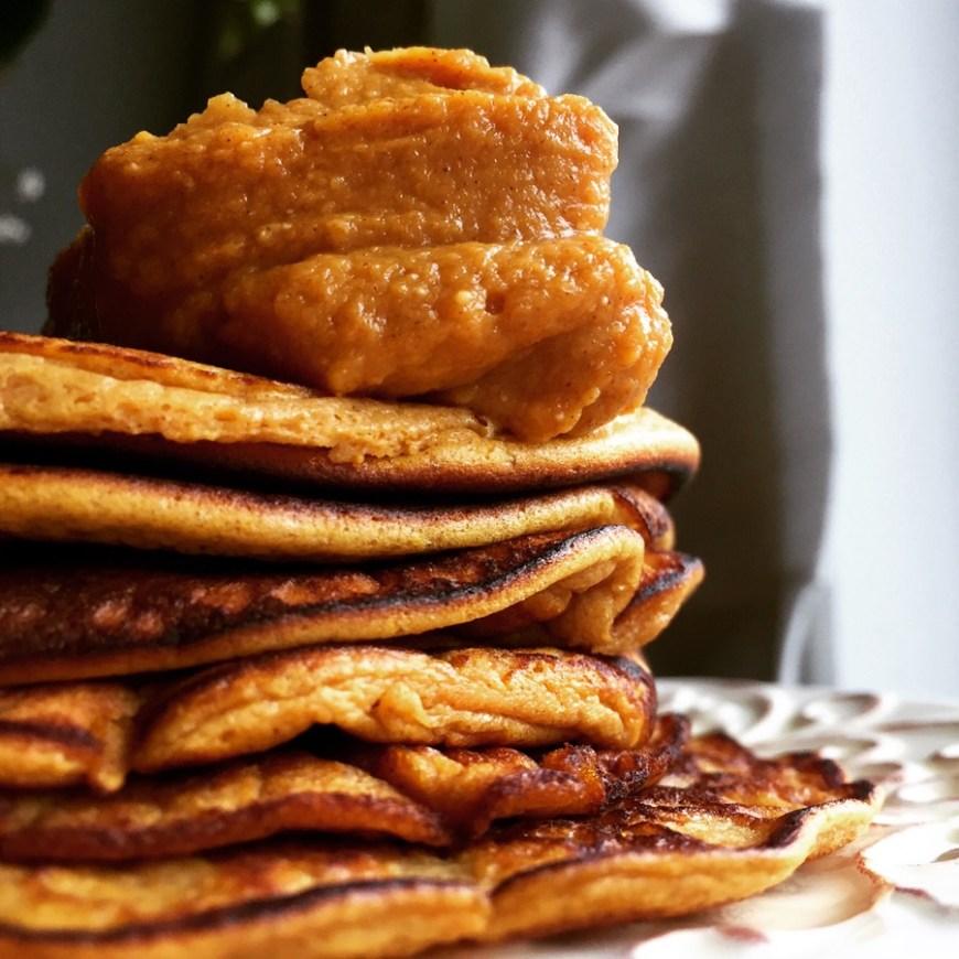 Paleo Pumpkin Pancakes by BeautyBeyondBones #glutenfree #grainfree #paleo #vegetarian #quarantine #food #breakfast #brunch #edrecovery