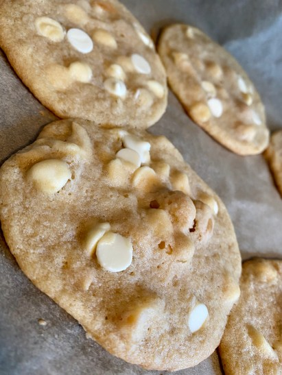 White Chocolate Macadamia Nut Cookies by BeautyBeyondBones! #dessert #baking #food #sweets #cookie #vegetarian #edrecovery