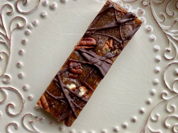 Chocolate Turtle Bars by BeautyBeyondBones #food #dessert #glutenfree #vegan #paleo #raw #healthyfood #edrecovery #chocolate