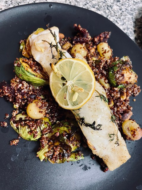 Halibut with Pistachio Quinoa Pilaf by BeautyBeyondBones #food #healthyfood #lent #dairyfree #glutenfree #keto #paleo