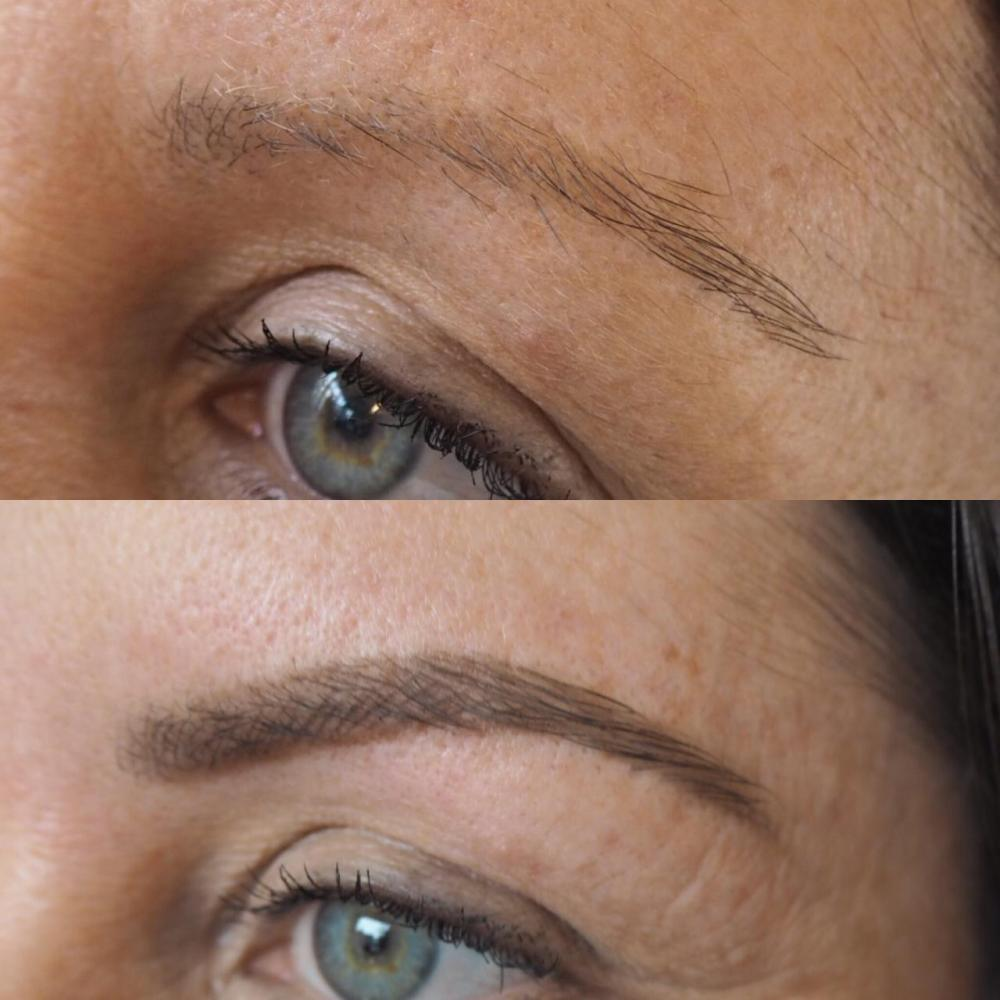 High Definition HD Brow Treatment Cardiff Salon Nia close up of thin brows before and after