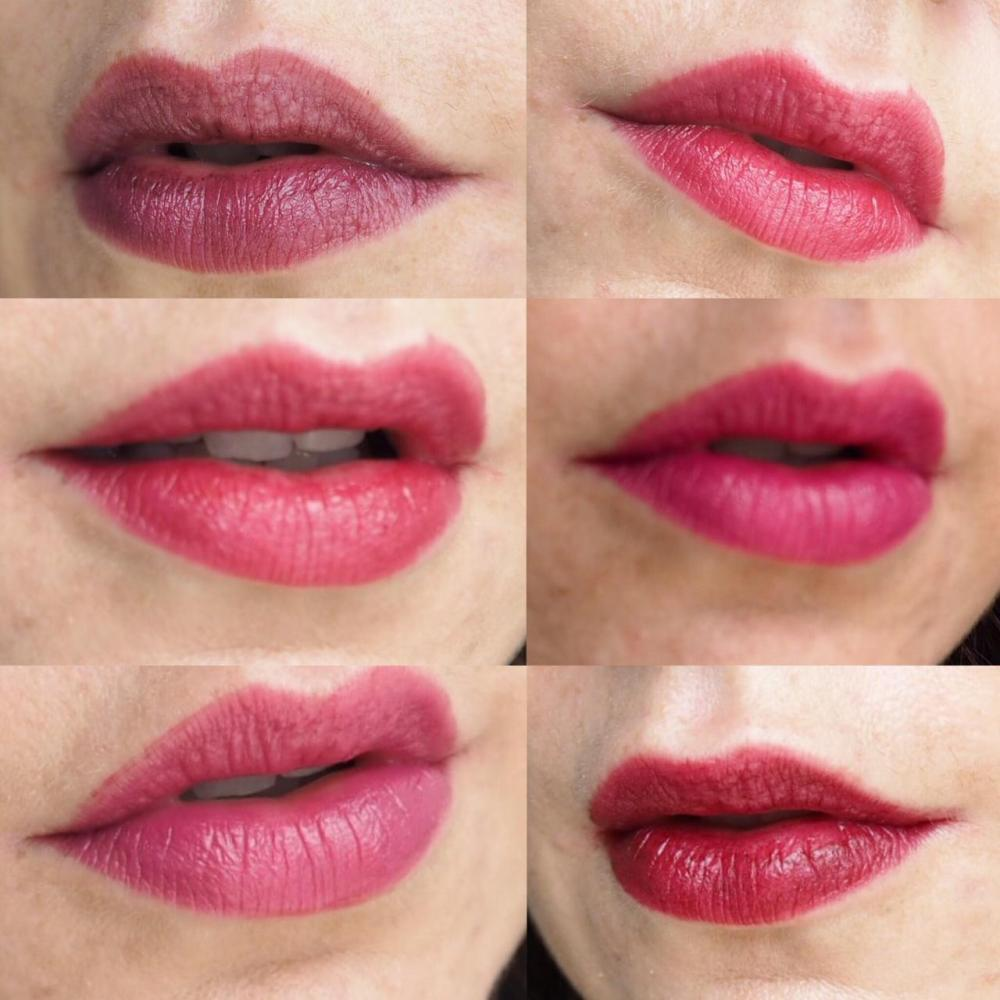 nyx pro lip cream palette in  the plums. a collage of 6 photos of lips each wearing a different shade from the palette.
