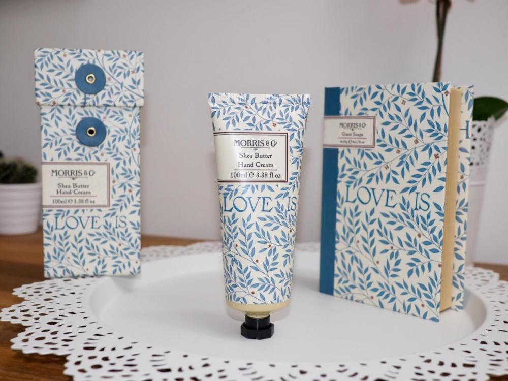 Morris and Co Gift Collection from Heathcote and Ivory Love is Enough Hand Cream with blue and white patterned packaging