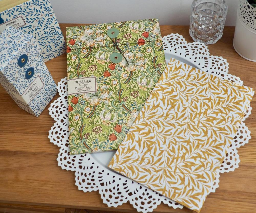 Morris and Co Gift Collection from Heathcote and Ivory Golden Lily Drawer Liners with a yellow leaf pattern