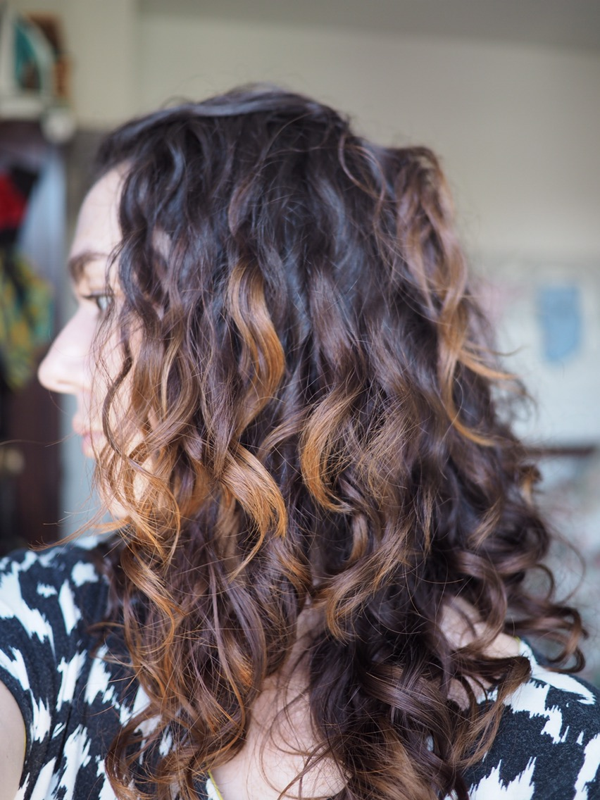 After John Frieda Frizz Ease 10 Day Tamer- much less frizzy curly brown hair