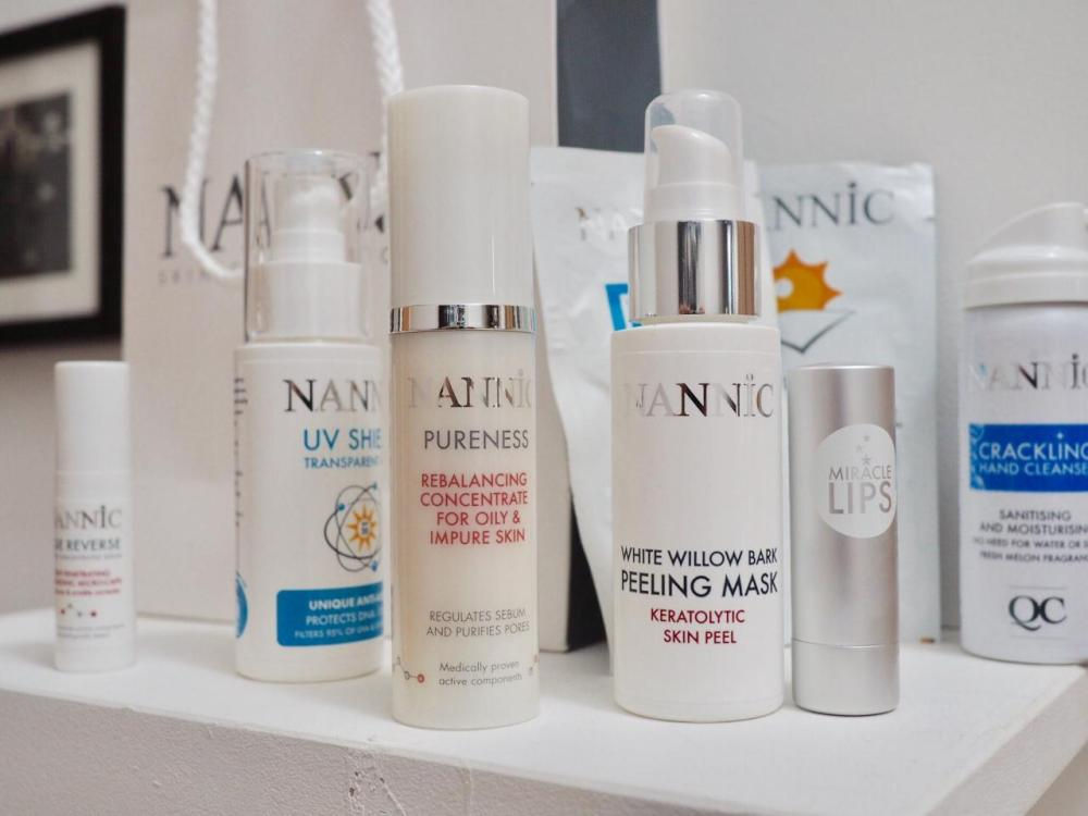 Nannic Skincare- pump bottles on a shelf
